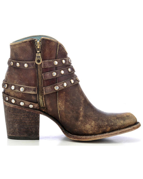 Corral Women's Studded Strap Ankle Boots - Round Toe, Brown, hi-res