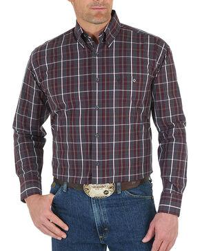 Wrangler Men's Wine George Strait Plaid Shirt - Tall , Wine, hi-res
