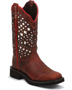 Justin Gypsy Redwood Buffalo Laser Cut Cowgirl Boots - Square Toe, Redwood, hi-res