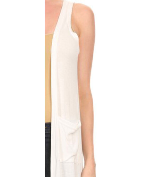 Freeway Apparel Women's Open Front Sleeveless Sweater, White, hi-res