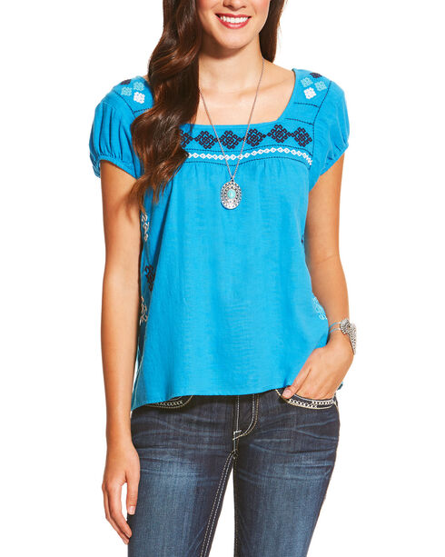 Ariat Women's Blue Short Sleeve Glorious Top , Dark Blue, hi-res