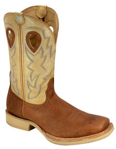 Twisted X Tan and Brown Horseman Cowboy Boots - Square Toe, , hi-res