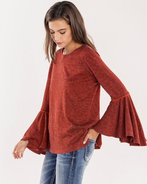Miss Me Women's Ring My Bell Flowy Bell Sleeve Top, Rust Copper, hi-res