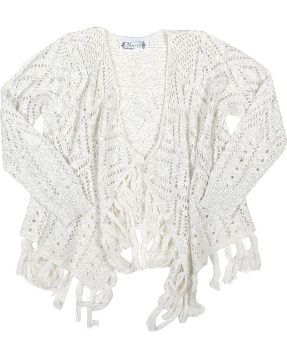 Shyanne Girls' Pointelle Cardigan , Ivory, hi-res
