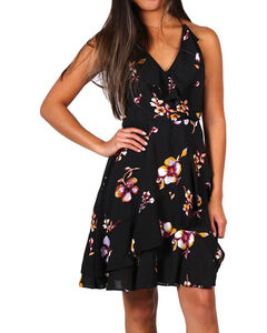 Shyanne Women's Floral Flutter Dress, Black, hi-res