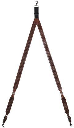 3D Basketweave Star Concho Suspenders - XL, Tan, hi-res