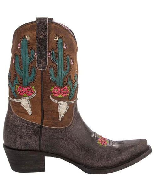 Junk Gypsy by Lane Dark Brown Bramble Rose Western Boots - Snip Toe , Brown, hi-res