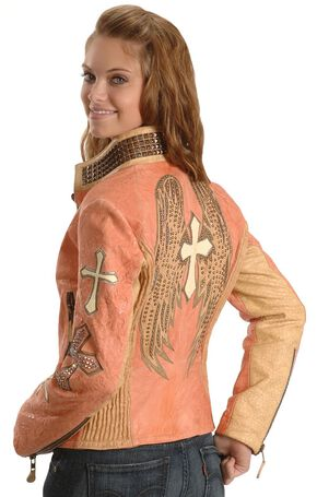 Corral Salmon Winged Cross Leather Jacket, Salmon, hi-res