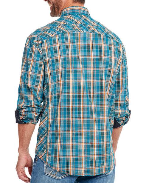 Cowboy Up Men's Plaid Long Sleeve Shirt, Turquoise, hi-res