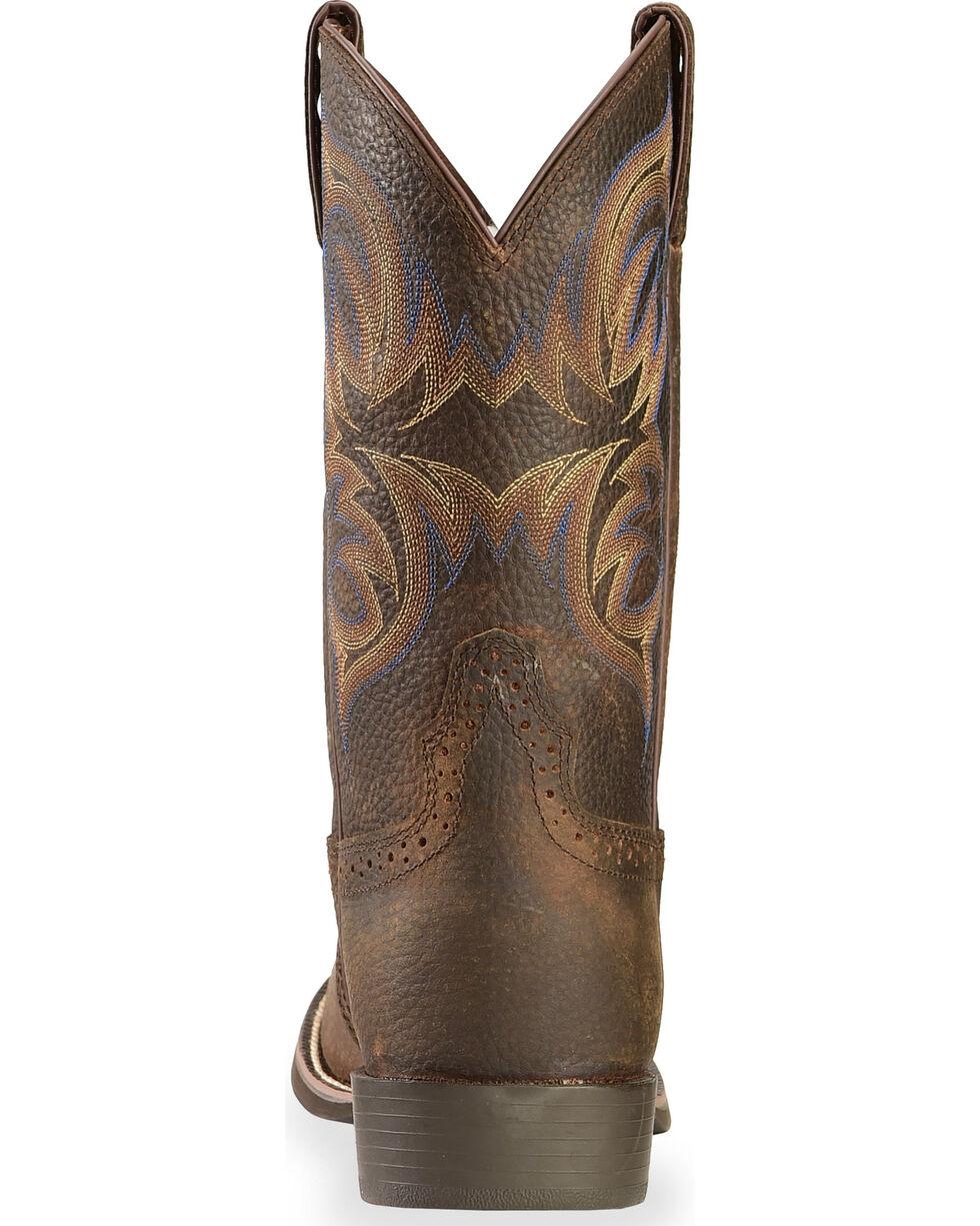 Justin Stampede Cattleman Cowboy Boots - Round Toe, Dark Brown, hi-res