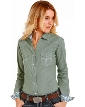 Rough Stock By Panhandle Women's Green Kenmore Shirt , Green, hi-res