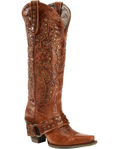 Lane Boots Studded Rocker Harness Cowgirl Boots - Snip Toe, Brown, hi-res