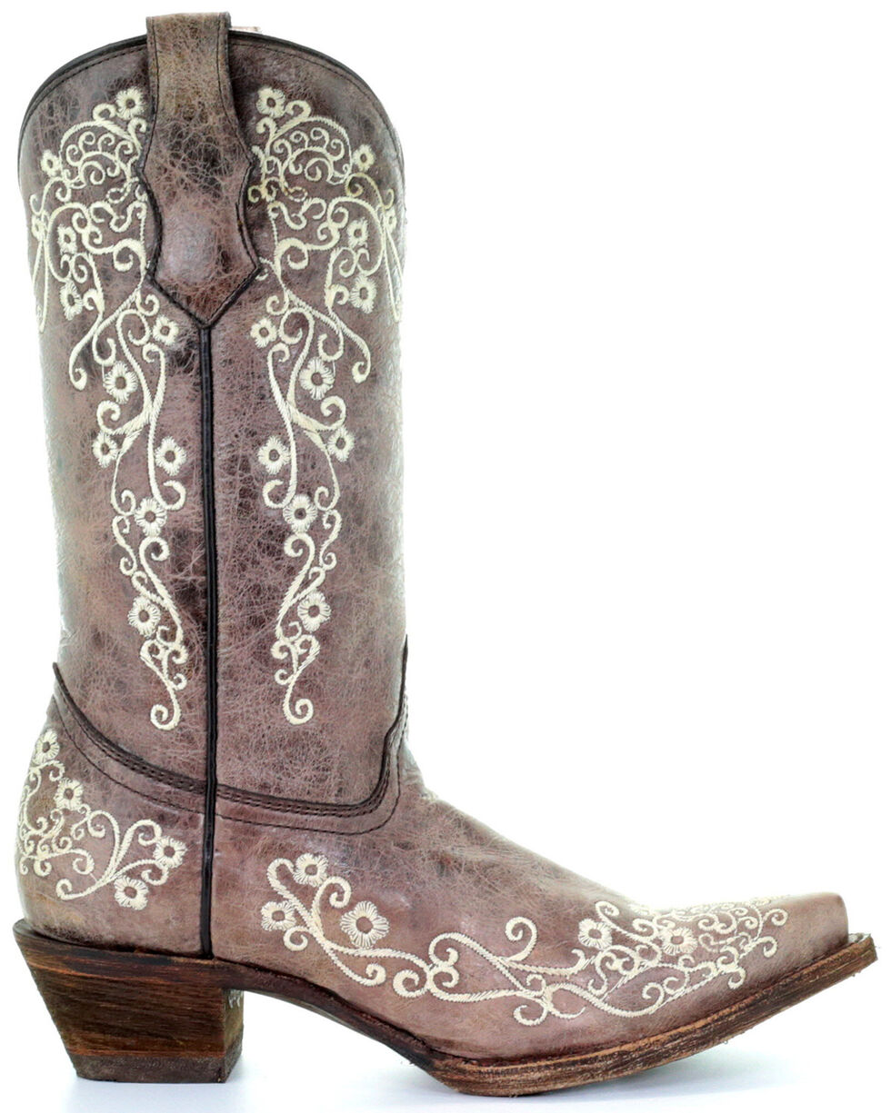 Corral Girls' Crater Bone Embroidered Cowgirl Boot - Snip Toe, Brown, hi-res