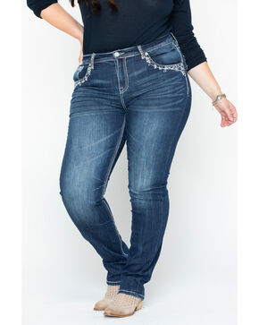 Grace in LA Women's Flora Skinny Jeans - Plus, Indigo, hi-res