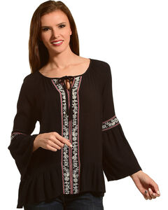 Tanzara Women's Embroidered Bell Sleeve Top, Black, hi-res