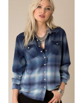 White Crow Women's Changing Horizons Dip-Dye Flannel, Indigo, hi-res