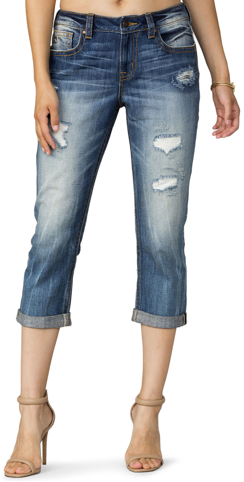 Miss Me Women's Cloud Nine Boyfriend Capris, Indigo, hi-res