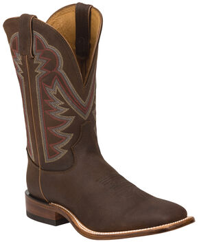 Tony Lama Oiled Mocha Americana Stockman Cowboy Boots - Square Toe , Chocolate, hi-res