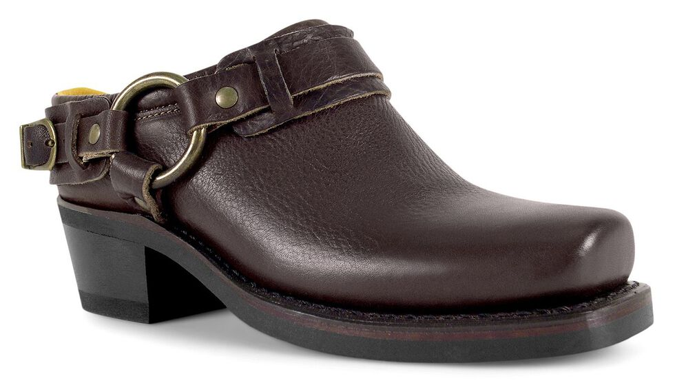 Frye Women's Belted Harness Mules - Square Toe, Chestnut, hi-res