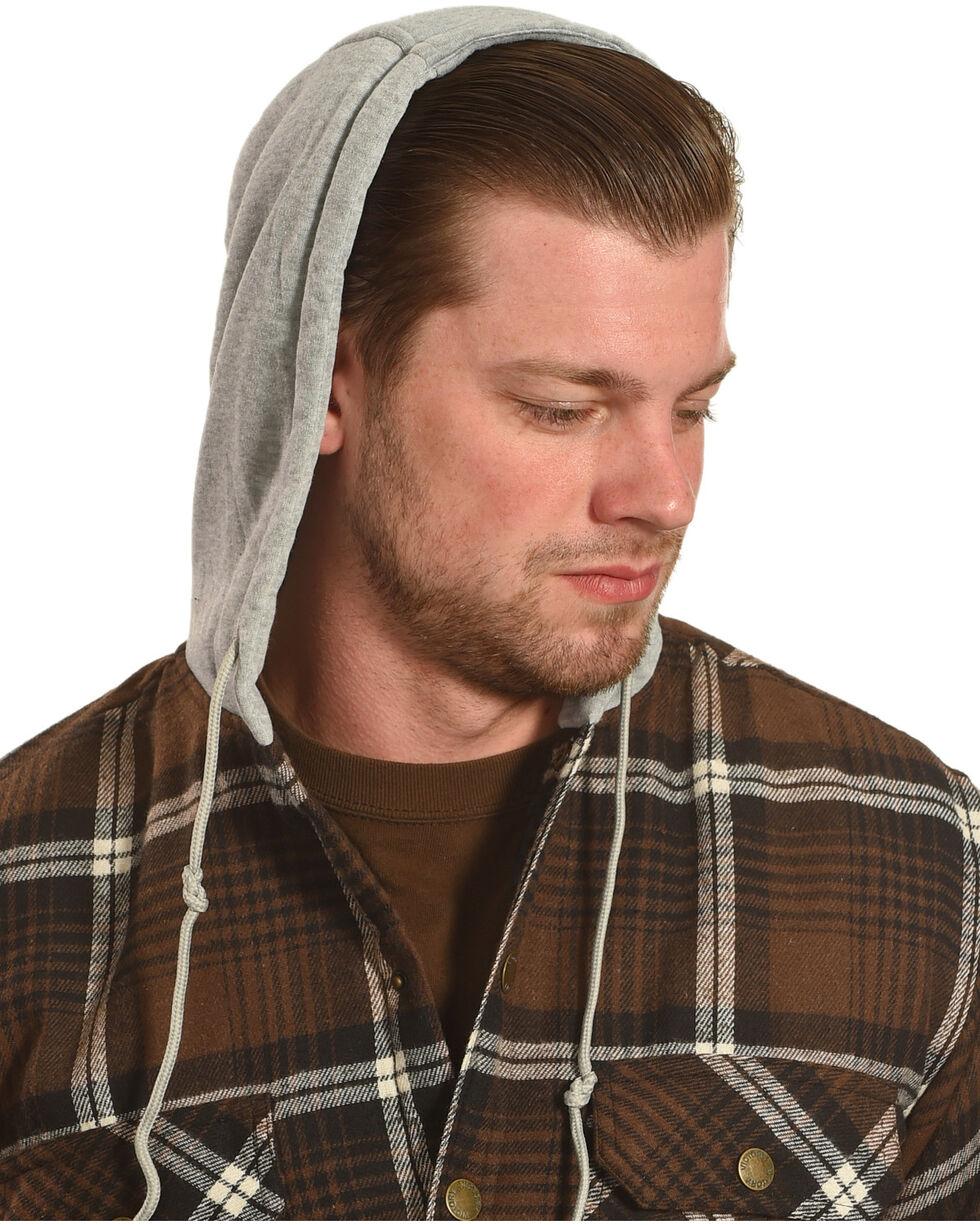 Victory Rugged Wear Men's Hooded Flannel Snap Shirt Jacket, Brown, hi-res
