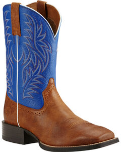 Ariat Sport Western Blue and Brown Cowboy Boots - Square Toe, , hi-res