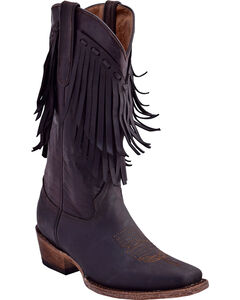 Ferrini Women's Desperado Fringe Detail Boots - Square Toe , Chocolate, hi-res