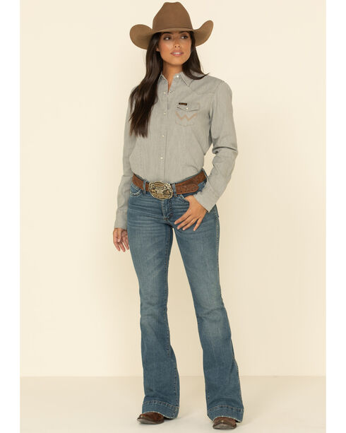 Wrangler Women's Long Sleeve Grey Demin Shirt, Grey, hi-res
