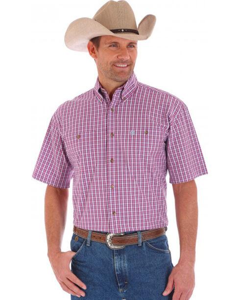 Wrangler George Strait Men's Plaid Short Sleeve Shirt, Red, hi-res