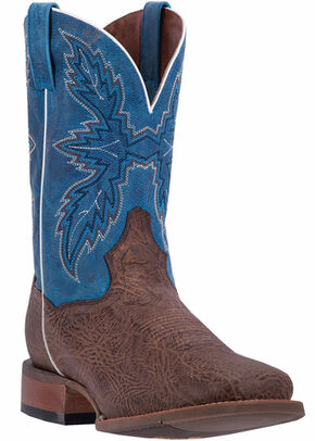 Dan Post Men's Chocolate Clark Cowboy Boots - Broad Square Toe, Chocolate, hi-res