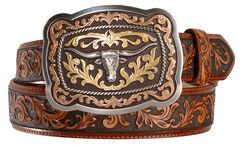 Justin San Antonio Steerhead Buckle Tooled Leather Belt - Reg & Big, Tan, hi-res