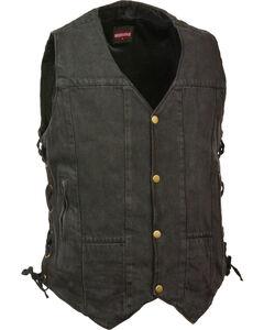 Milwaukee Leather Men's 10 Pocket Side Lace Denim Vest - 3X, Black, hi-res