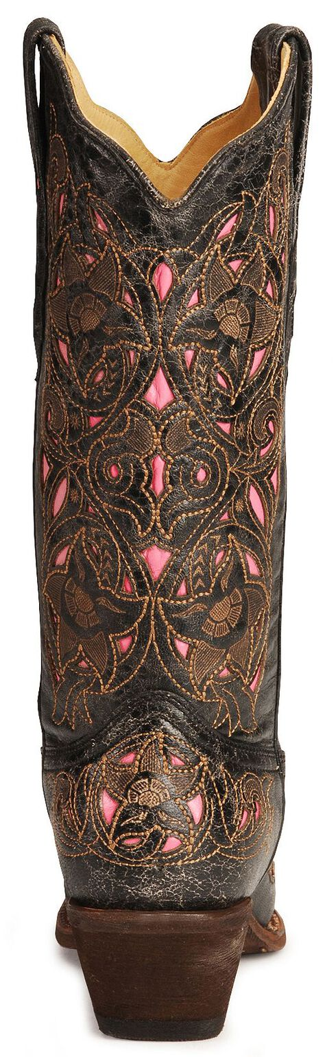 Corral Women's Laser Pink Inlay Cowboy Boots - Snip Toe, Black, hi-res
