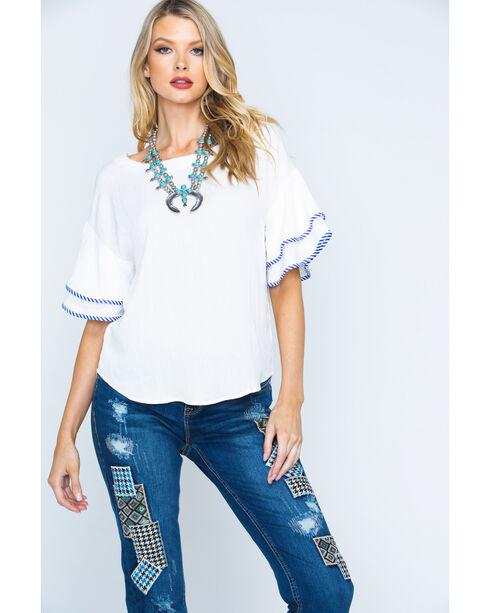 Polagram Women's Short Sleeve Simple Top, White, hi-res