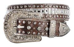 Nocona Crystal Croc Print Leather Belt, , hi-res