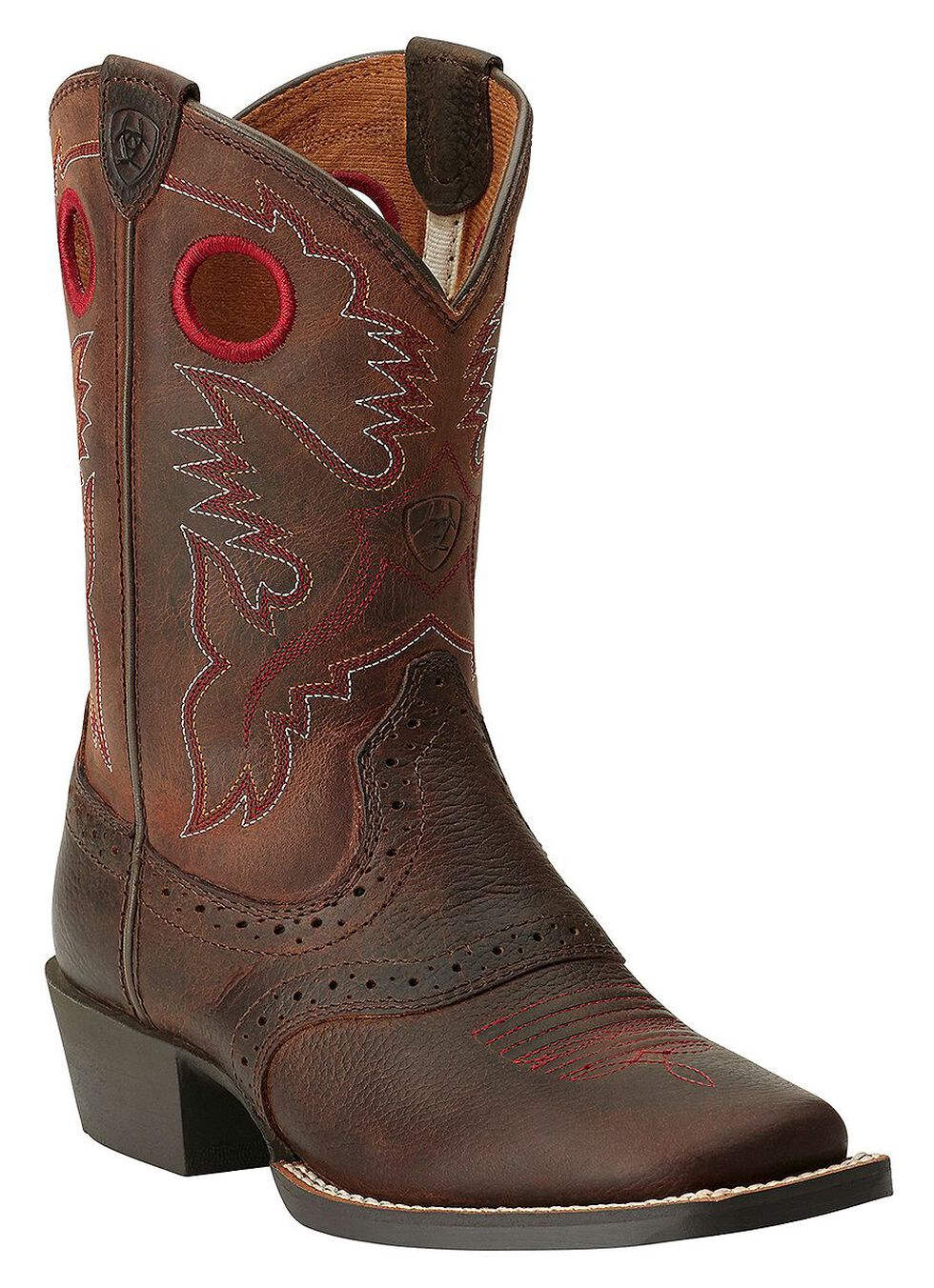 Ariat Boys' Rough Stock Cowboy Boots - Square Toe, Brown, hi-res