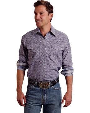 Roper Men's Amarillo Collection Purple Print Snap Long Sleeve Shirt, Purple, hi-res