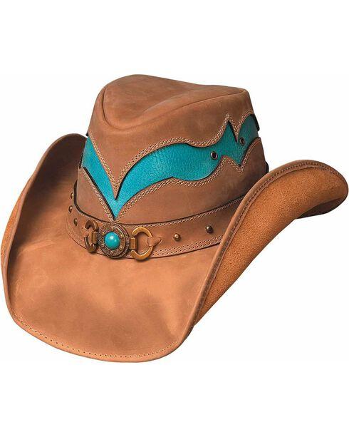 Bullhide Cascade Range Leather Outback Hat, Camel, hi-res