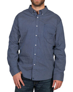 Cody James Men's Dot Patterned Long Sleeve Shirt, Navy, hi-res