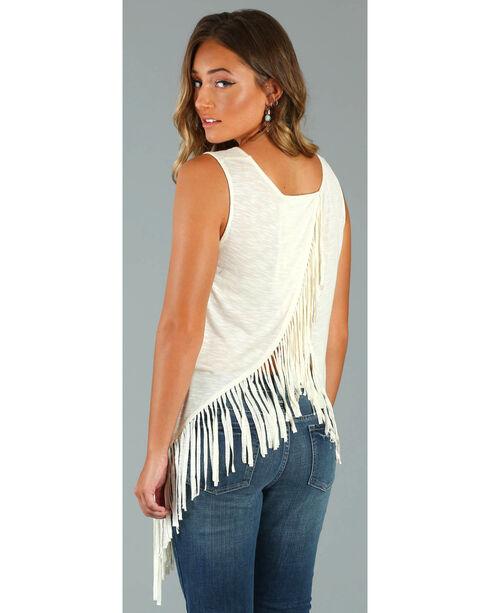 Wrangler Rock 47® Women's Ivory Sleeveless Fringe Western Top , Ivory, hi-res