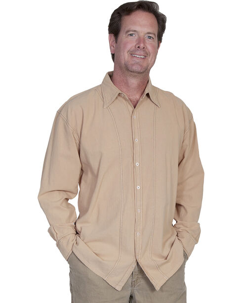 Scully Cantina Contrasting Stitch Shirt, Sand, hi-res