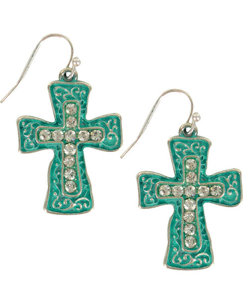 Shyanne Women's Filigree Cross Earrings, Silver, hi-res