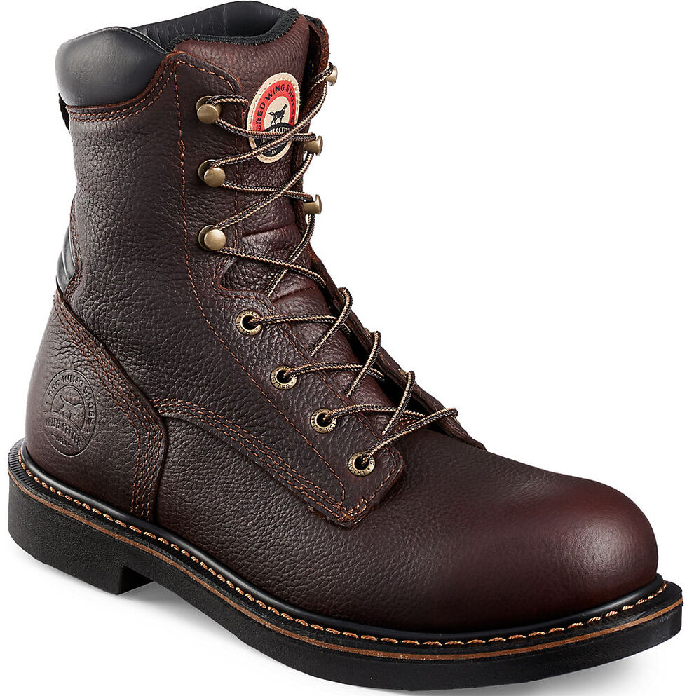 """Irish Setter by Red Wing Shoes Men's Farmington 8"""" Work Boots - Soft Round Toe, Brown, hi-res"""