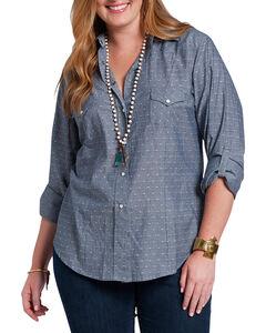 RU Apparel Women's Crochet Lace Back Long Sleeve Shirt, Blue, hi-res