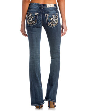 Miss Me Women's Reach For The Stars Mid-Rise Boot Cut Jeans, Indigo, hi-res