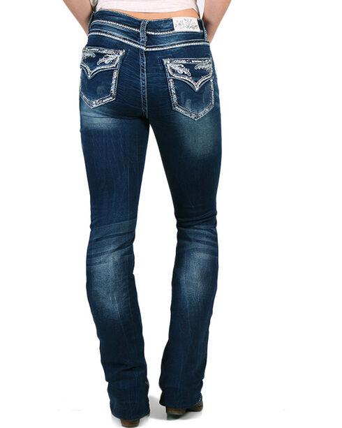 Grace in LA Women's Indigo Leafy Crystal Edge Jeans - Boot Cut , Indigo, hi-res
