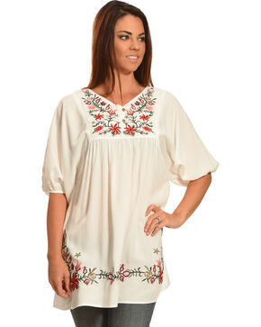 Young Essence Women's Embroidered Short Sleeve Flowy Top, White, hi-res