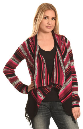 Derek Heart Women's Red and Black Stripe Cozy Cardigan , Black, hi-res