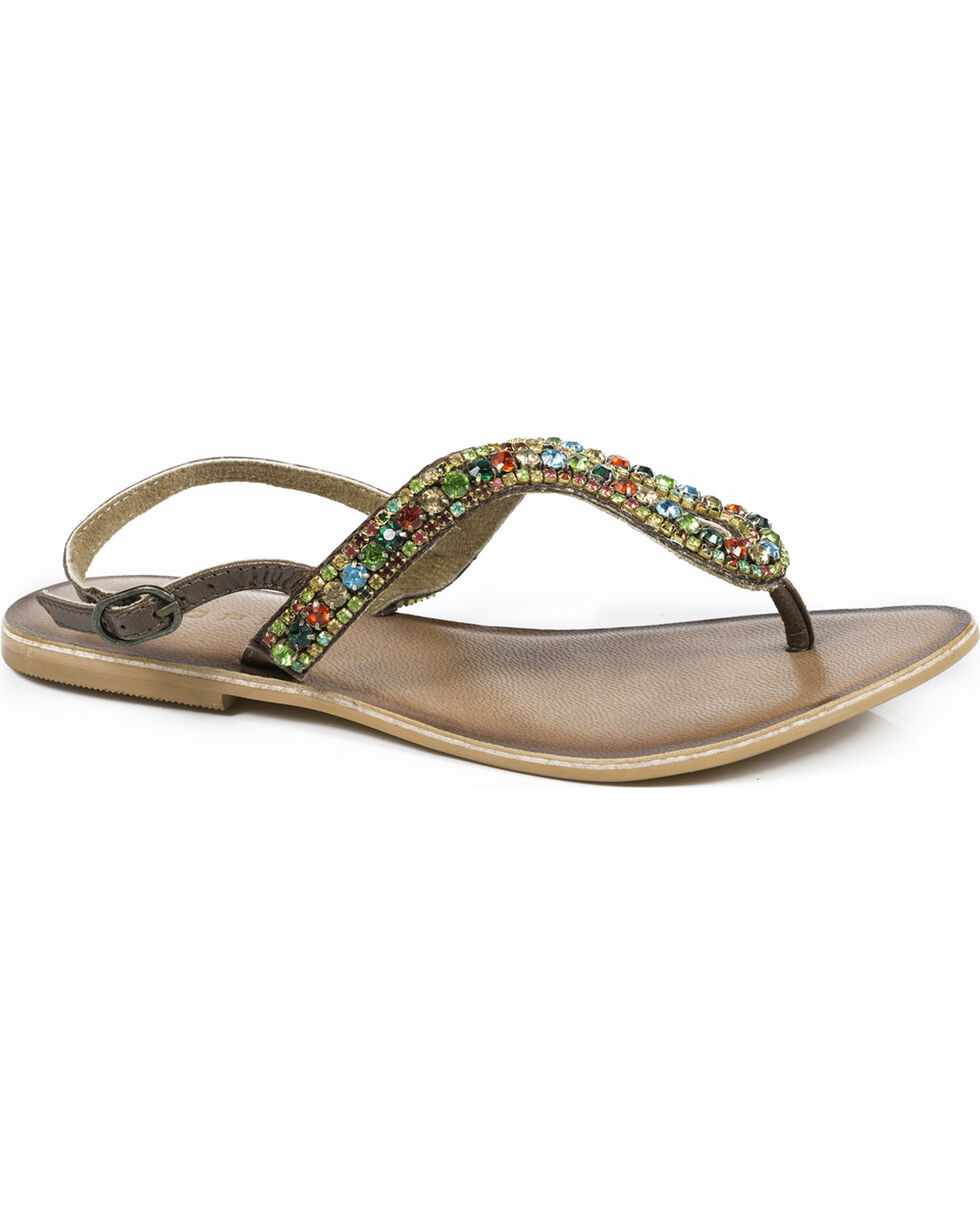 Roper Women's Color Crystal Leather Thong Sandals , Brown, hi-res