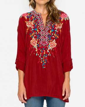 Johnny Was Women's Red Gemstone Blouse , , hi-res