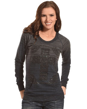 Rock & Roll Cowgirl Women's Grey Cross Long Sleeve Top , Coral, hi-res